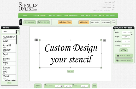 Yankee Stencil Co  offers an on-line Custom Stencil Designer and